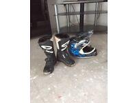 Kids helmet and boots.