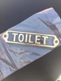 Toilet door sign with fixings retro design brand new