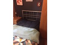Single silver metal bed frame in excellent condition.