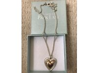 New rose gold & silver solid love heart necklace