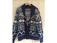 Burton Blue Printed Knitted Jumper Cardigan Top