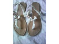White toe post sandals size 5