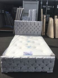 ⭐️ATTENTION⭐️ Brand new! Silver crushed velvet glitz bed!