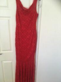 Red fishtail lace dress Bardot