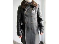 vintage swedish military leather coat_1940s /1950s