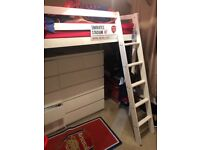 Single white bunk bed