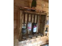 Rustic chunky handmade wine rack