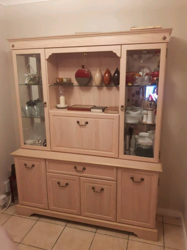 Morris Furniture 2 Piece Dining Cabinet With Glass Display Unit And Sideboard