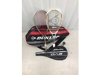 2 Squash racquets (Prince & Dunlop) + bag + balls