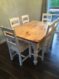 FARMHOUSE STYLE TABLE & 6 CHAIRS