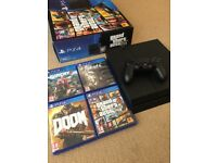 PS4 (PlayStation 4) 500gb with Doom, GTA V, Fallout 4 and Far Cry 4