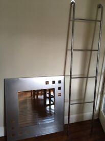 Beautiful Chrome Art Deco Bathroom Mirror & Tall Towel Rail