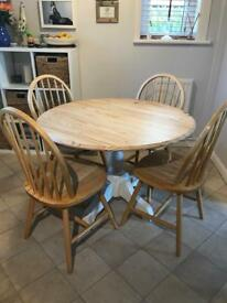 Round pine table an 4 chairs