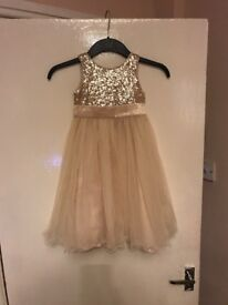 Girls gold bridesmaid dress age 3 with flower basket