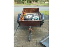 Metal Frame, Wooden Sided Car Trailer with drop down tailgate
