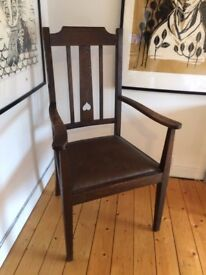 Georgian Wood Armchair - Leather-seat