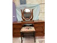 Dressing table, mirror and stool.