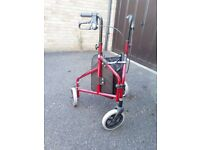 Drive DeVilbiss Healthcare TW008R Ultralight Aluminium Red Tri-Walker with Vinyl Bag