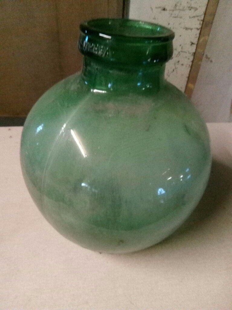 "Green glass terrarium 14"" tall"
