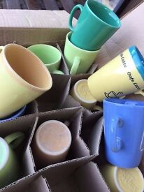 box of 36 mugs assorted colours NEW