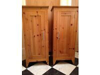 Pair of handmade solid pine tall cupboards approx 101 cm high 43 cm wide 41.3 cm deep (2 cupboards)