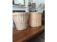 Two large wicker baskets