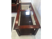 Two beautiful mahogany tables with tinted glass inlay tops £40 for both