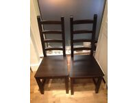 4 Brown Wooden Chairs For Sale