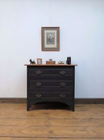 Small Painted Black Chest of Drawers