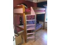 Solid Pine Kids High Sleeper with sofa bed