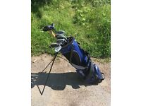 Full set golf clubs with double strap stand bag and umbrella