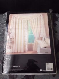 """Brand New Rimini Cream 216"""" (Width) Lined Voile Material Scarf Pelmet By Dreams N Drapes"""