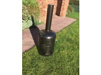 Log Burner , home made gas cylinder type , ash grill and vent slots ,