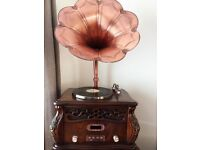 Solid wood antique big horn gramophone player/turntable vinyl record player
