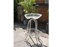 New Cast Iron Tractor Seat / Bar Stool- White