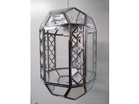 Pair of glass Ceiling Lights glass octagon pendants, chrome frame