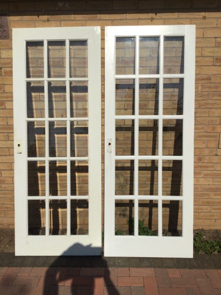 Wood Door With Glass Panels Free In Terrington St Clement Norfolk