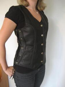 Women-Classic-Style-Motorcycle-Biker-Breaded-Leather-Vest-side-Laced-waistcoat