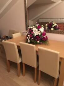 New - dining table including 6 leather chairs