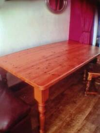 Solid 6foot by 3foot pine dining table