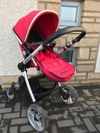 Senses 3 in 1 pushchair red with bag and changing mat
