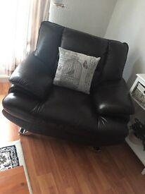 Brown leather corner sofa with matching chair