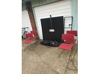 dining or desk table black stained ash veneer/black140x140 cm and 4 red chairs good condition