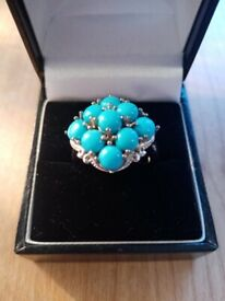 Arizona Sleeping beauty turquoise cluster ring in sterling silver