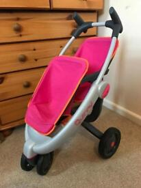 Quinny smoby double twin dolls pram