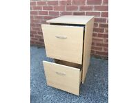 Beech effect small two drawer filing cabinet
