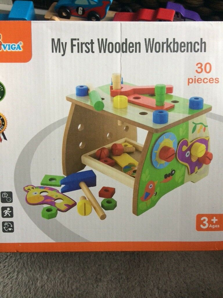 Toy tool bench and wooden tool bench