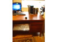 Good condition, large solid wood study desk with drawers