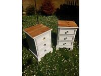 Two SOLID PINE Shabby Chic bedside table.