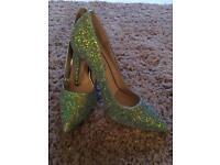 Brand new Schuh mermaid green sparkly glitter stilleto shoes - size 6